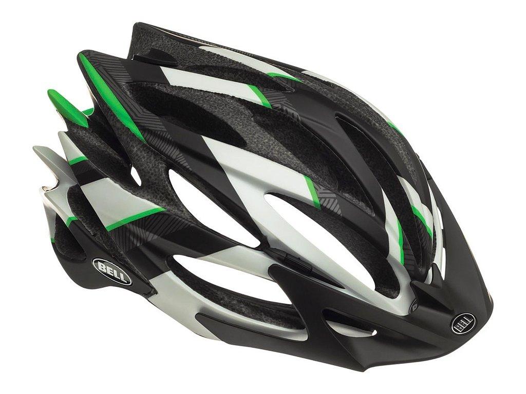 Cyklistická helma Bell SWEEP - white/black/green esher