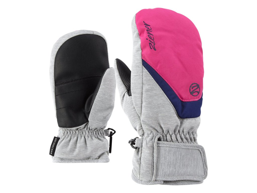 Ziener LORIAN MITTEN GLOVE JUNIOR - light melange/pop pink