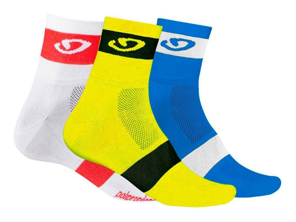 Giro COMP RACER SOCKS 3 PACK - bílá, žlutá, modrá