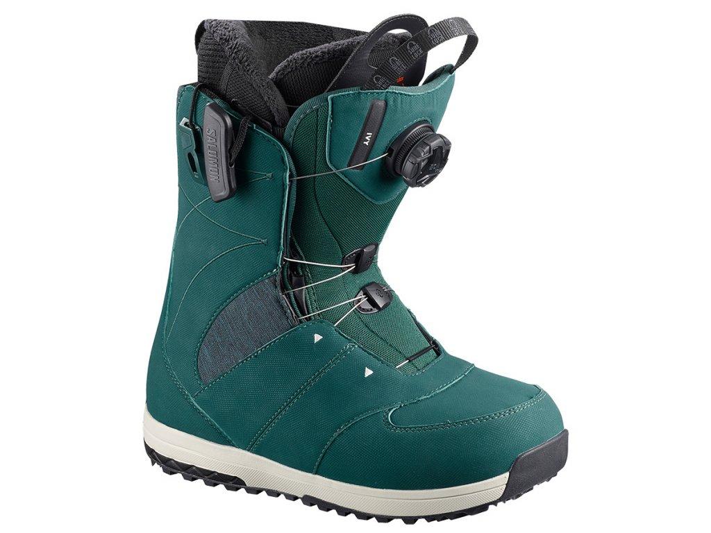 Topánky na snowboard Salomon IVY BOA SJ, Deep teal 18/19 (varianta EUR 38,5 / 24,5 cm)