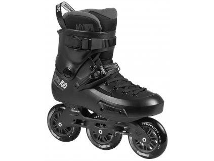 Kolieskové korčule Inline korčule Powerslide Zoom Pre 100, Black (veľkosť EUR 37-38, veľkosť koliesok 100mm, počet koliesok 3x)