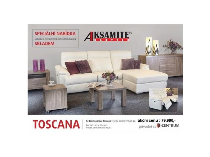 Kožená souprava TOSCANA vystavena na prodejně