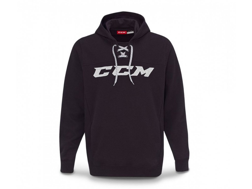Mikina CCM Hockey Hood - JR (Junior) 140 Dark Grey - tm. šedá