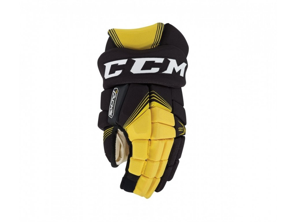 Hokejové rukavice CCM Supertacks - SR (Senior) 15 Black/Yellow - černožlutá