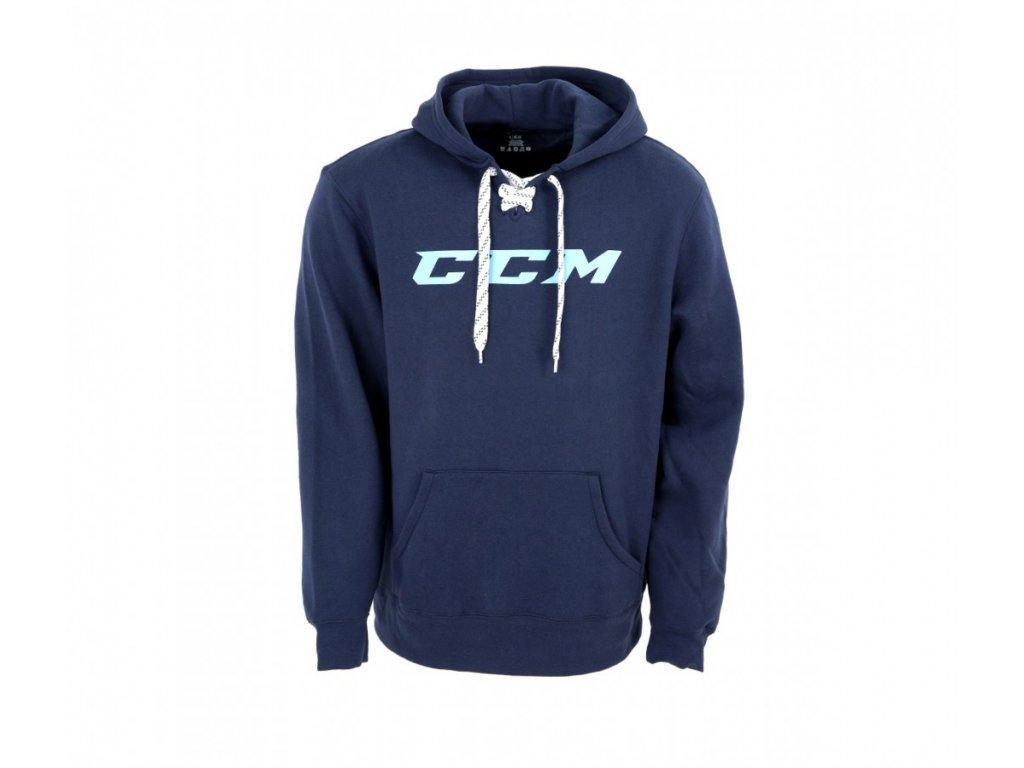 Mikina CCM Logo Hoody - SR (Senior) XXL Navy/White logo