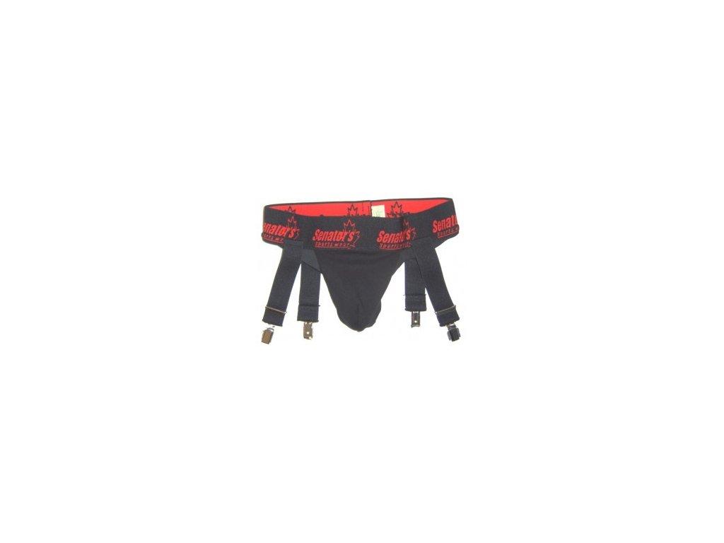 Hokejový suspenzor SENATORS s podvazky, kovové spony, 85 cm