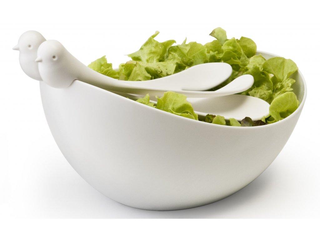 QUALY mísa s nástroji Sparrow Salad Bowl bílá-bílá