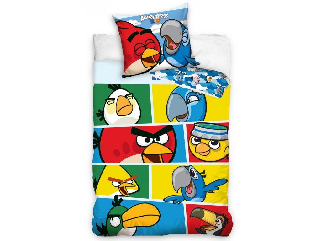 Angry Birds dětské barevné povlečení CHECK BLUE