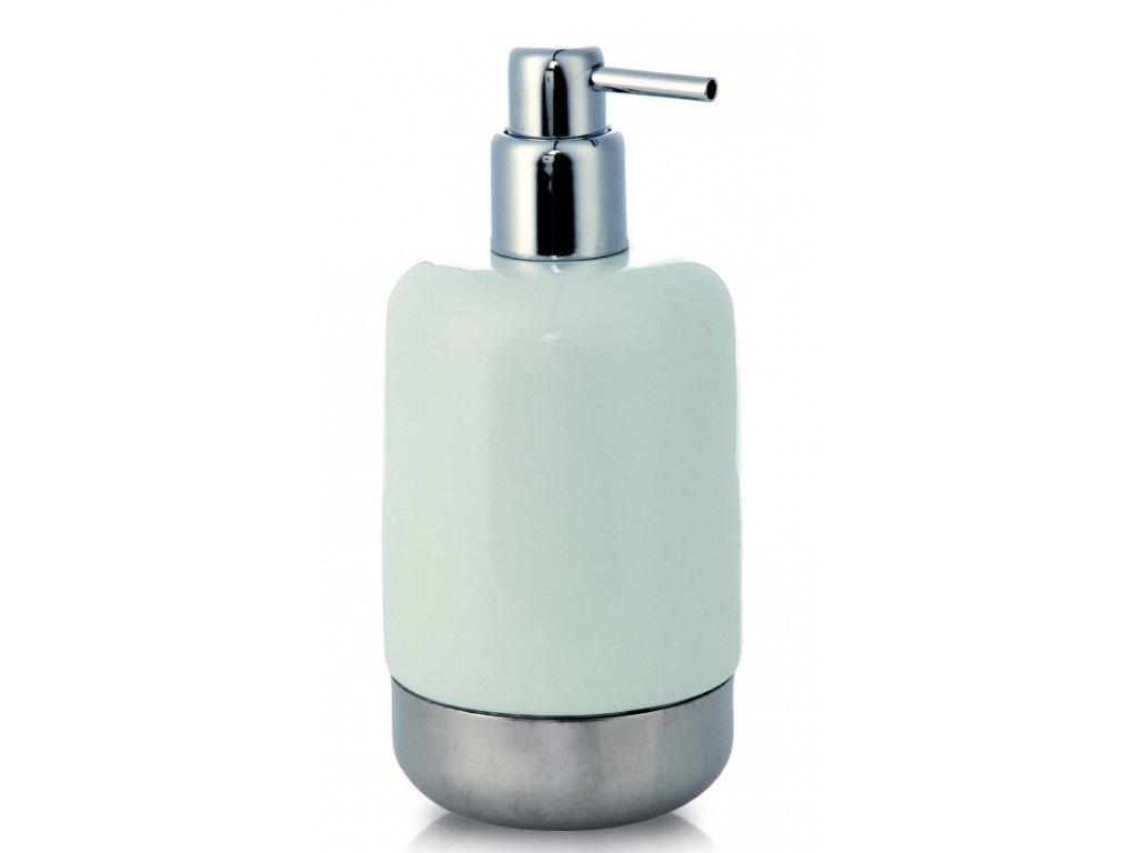 Möve - dávkovač na tekuté mýdlo z bílého porcelánu a nerezu WHITE