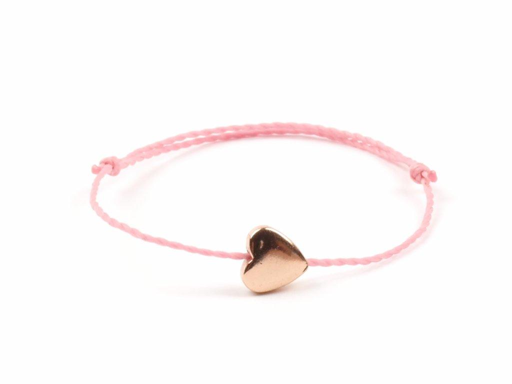 Moni dámský náramek světle růžový srdíčko hematit růžovozlaté velké