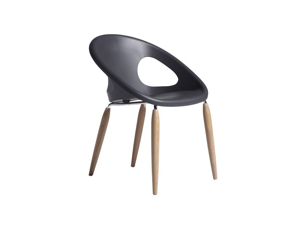 Židle NATURAL DROP se sedákem z recyklovatelného technopolymeru antracitová
