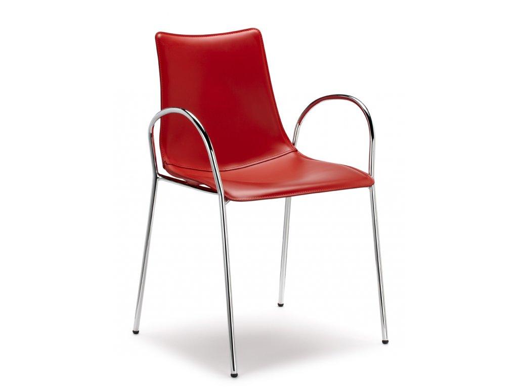 SCAB - polstrovaná plastová židle ZEBRA POP s područkami