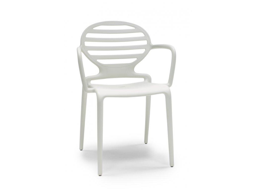 SCAB - plastová židle COKKA s područkami ecru