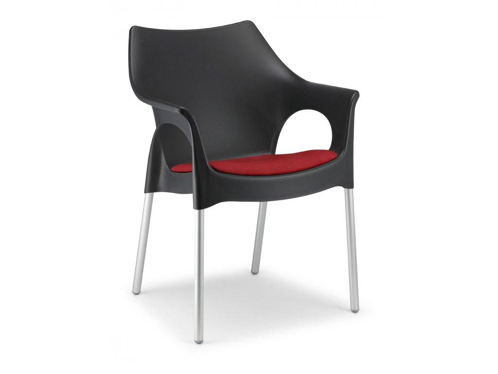 SCAB - plastová židle OLA polstrovaná - antracit