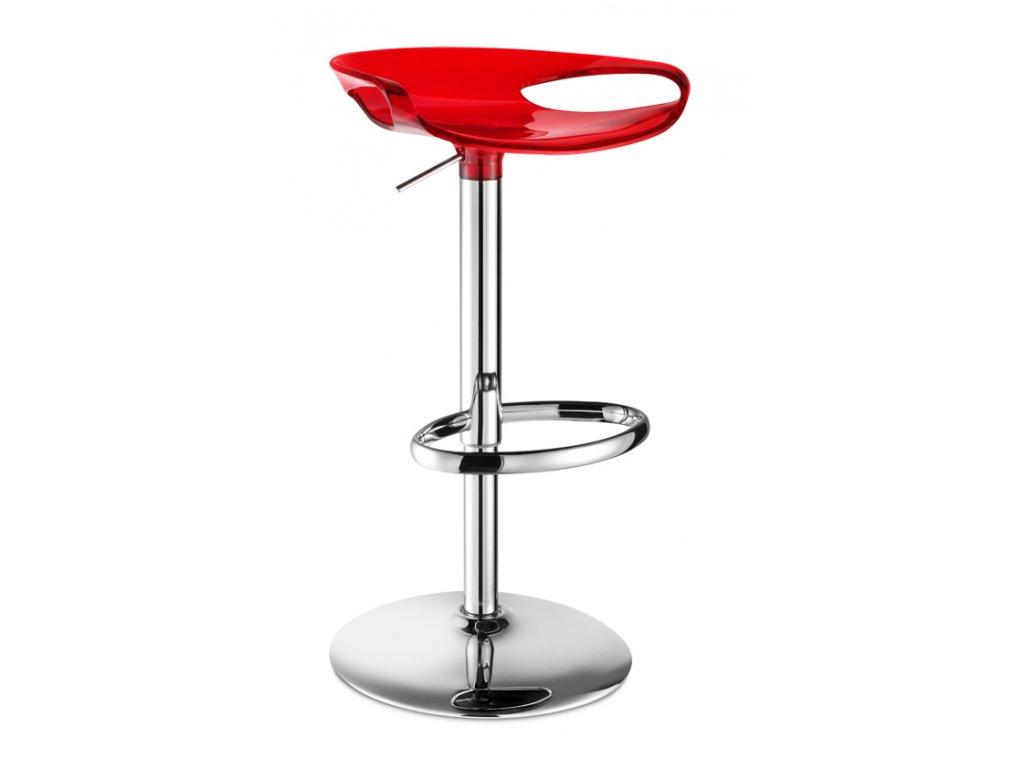 SCAB - barová otočná plastová židle ZOE červená