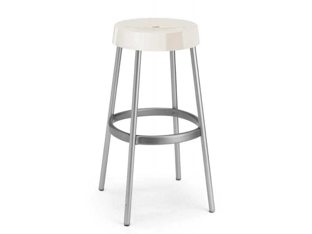 Barová plastová židleGIM má fixní výšku 80 cm ecru