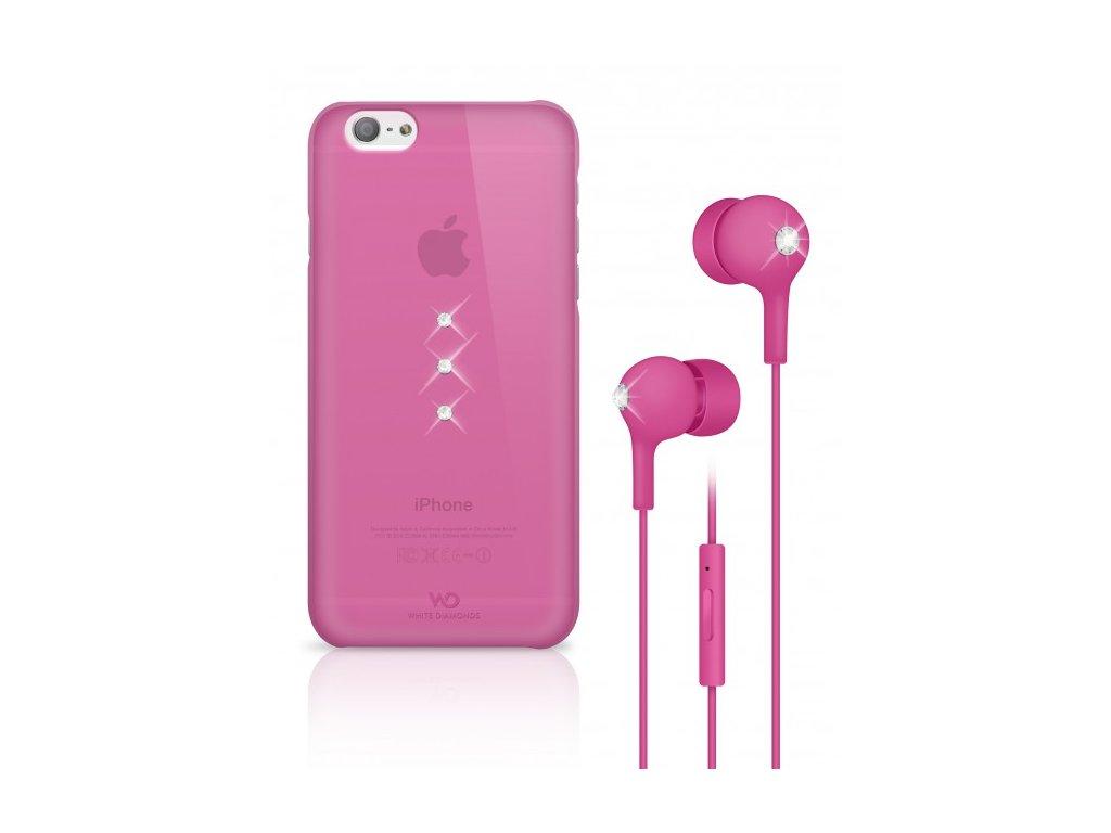 White Diamonds Crystal Earphone kryt pro iPhone 6 růžový