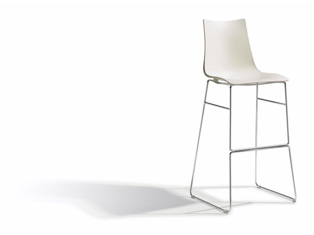 SCAB - plastová barová  židle ZEBRA TECHNOPOLYMER - sledge, fixní výška 80 cm