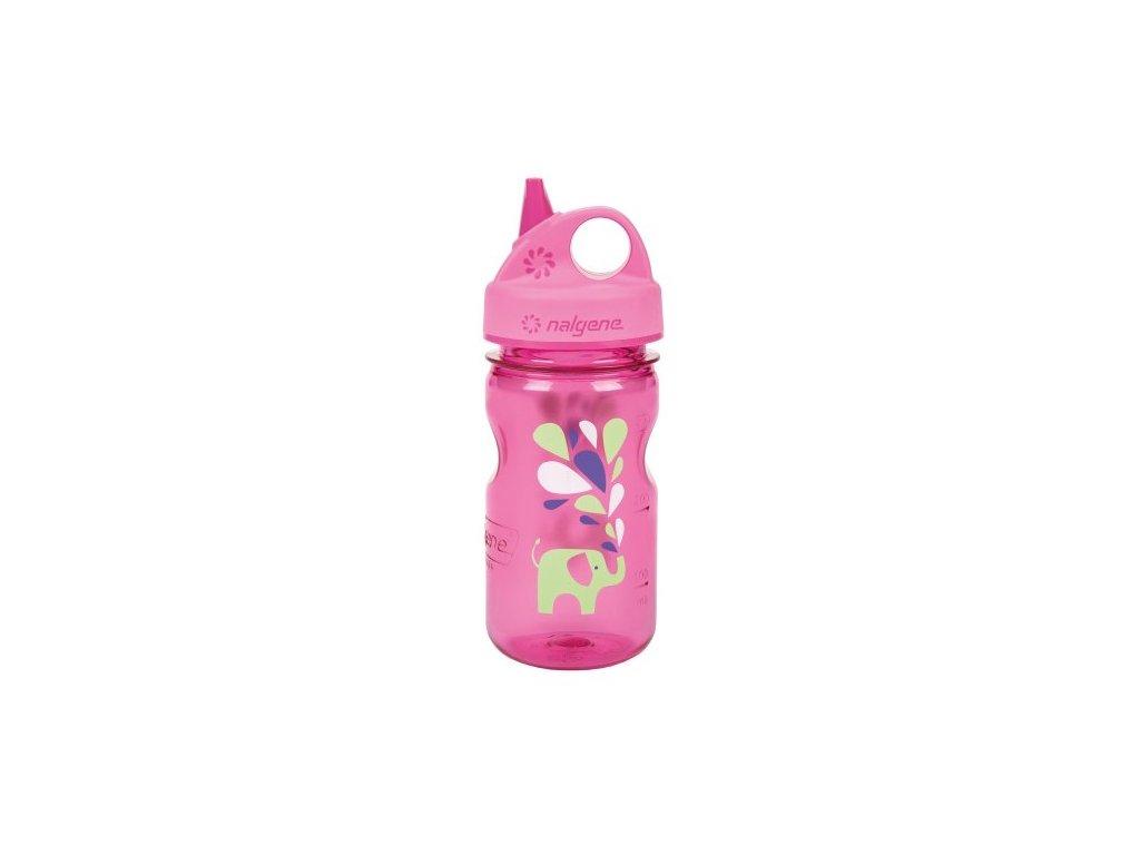 Odolná láhev pro děti a batolata Nalgene růžová se slonem