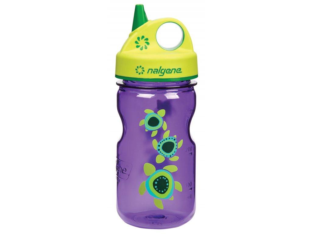 Odolná láhev pro děti a batolata Nalgene fialová s želvičkami