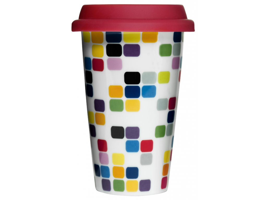 Sagaform - dvojstěnný porcelánový termohrnek Pixel