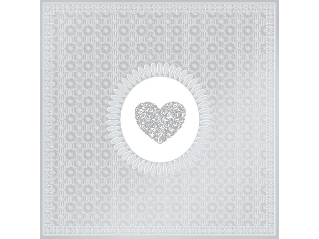 PPD - papírové ubrousky Medaillon Srdce stříbrné