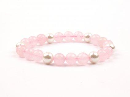 Moni - dámský náramek růženín perly