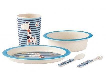 KJ Collection bambusová dětská jídelní sada modrá