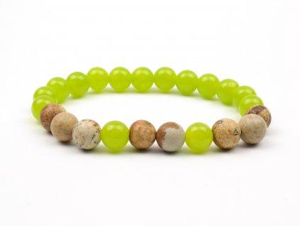Moni - dámský náramek jadeit zelenkavý jaspis obrázkový
