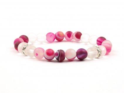 Moni - dámský náramek achát růžový matný křišťál matný