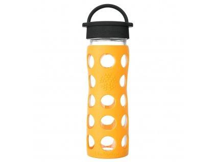 Lifefactory skleněná láhev s klasickým uzávěrem 475 ml marigold