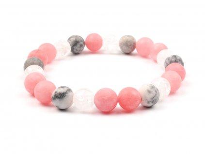 Moni - dámský náramek jadeit růžový křišťál matný praskaný