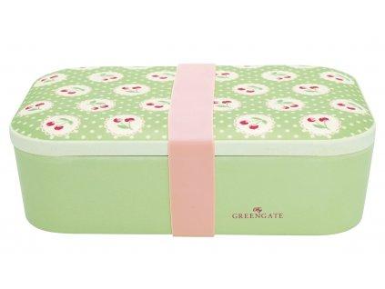 Green Gate bambusový svačinový box Cherry Berry Pale Green