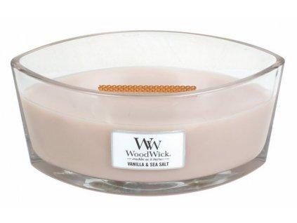 WoodWick - vonná svíčka ve skle vanilka a mořská sůl 453,6 g