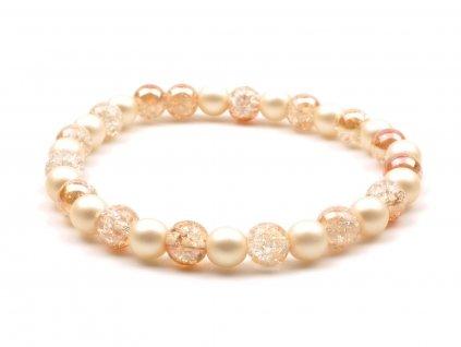 Dámský náramek křišťál praskaný sunset perly krémové