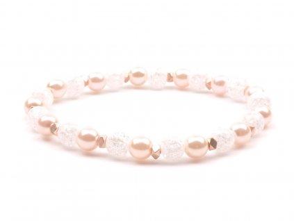 Dámský náramek křišťál perly růžové
