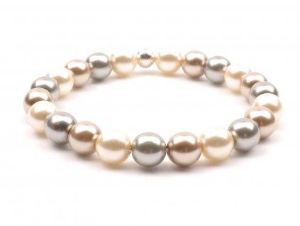 Moni - dámský náramek perly béžévá šedá
