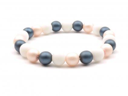 Dámský náramek onyx perly růžové modré