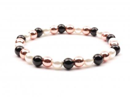 Dámský náramek onyx hematit perly bílé
