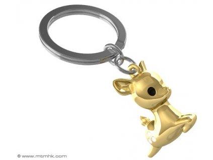 Přívěsek na klíče značky MTM s motivem srnečka ve zlaté barvě