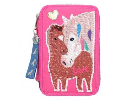 Miss Melody růžový penál s výbavou Dva koně