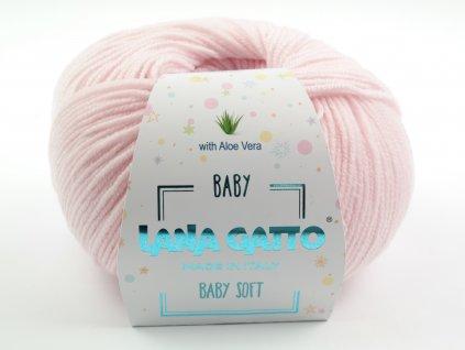 Lana Gatto pletací příze vlna merino BABY SOFT růžová baby