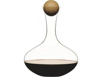 Sagaform - Karafa s dřevěnou kuličkou Oval Oak, červené víno, 2L