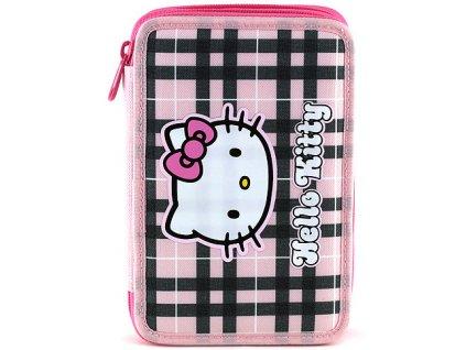 Hello Kitty školní penál růžovo-černé kostky