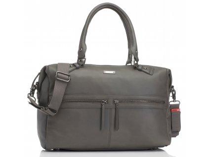 Storksak - multifunkční kabelka CAROLINE LEATHER šedá
