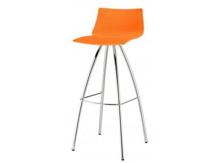SCAB - barová plastová židle DAY fixní výška 82 cm oranžová
