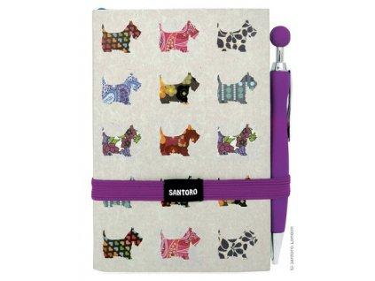 Santoro - zápisník + propiska Gorjuss - SCOTTIE DOGS