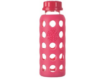 Lifefactory skleněná láhev 250ml raspberry