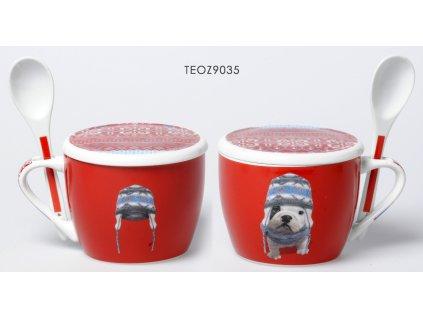 Fox Trot - Hrnek jumbo se lžičkou Buldog červený