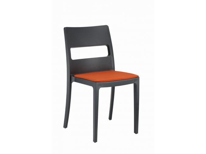 SCAB - plastová židle SAI polstrovaná - antracitová